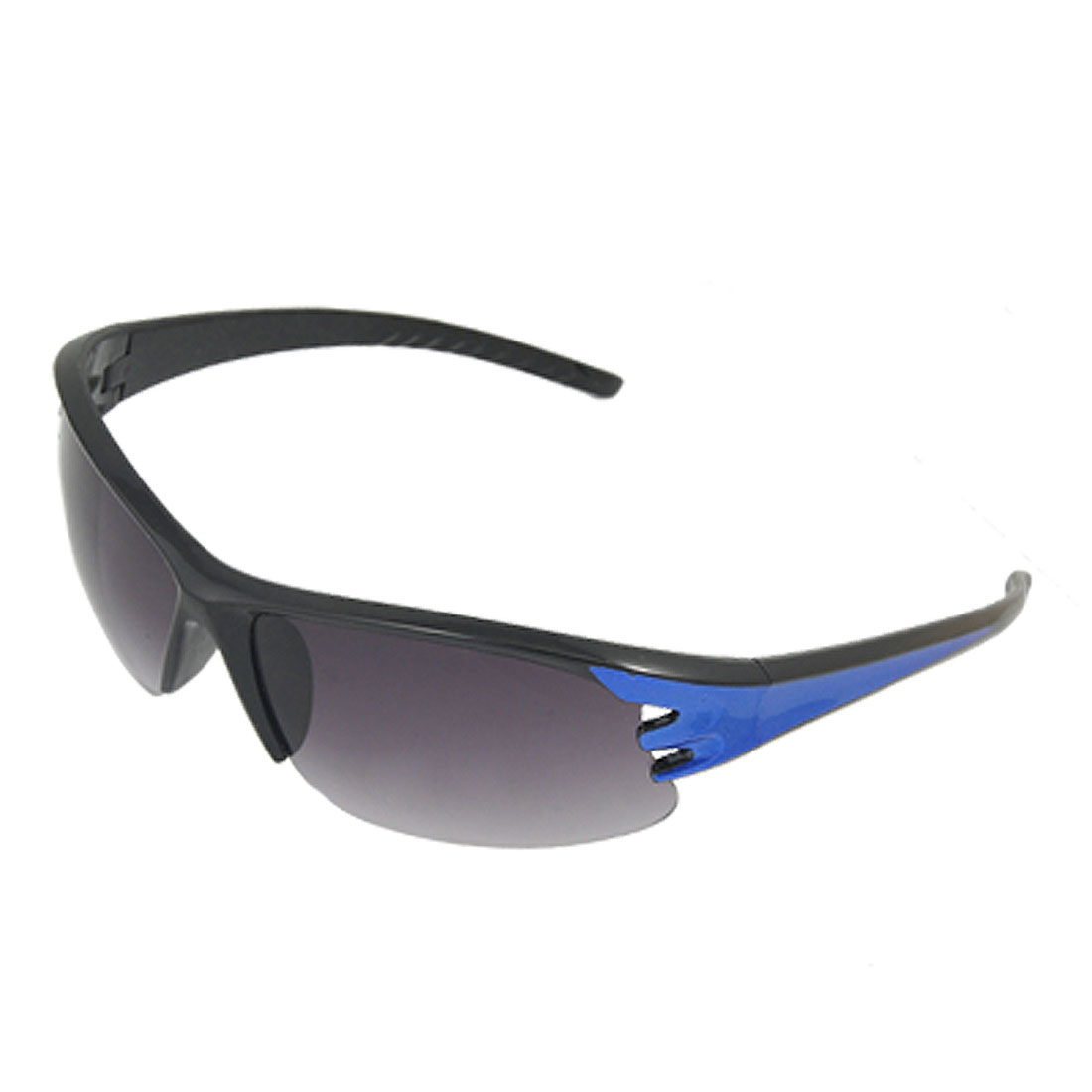Unisex Blue Detail Arm Semi Rim Sunglasses Eyewear for Sports