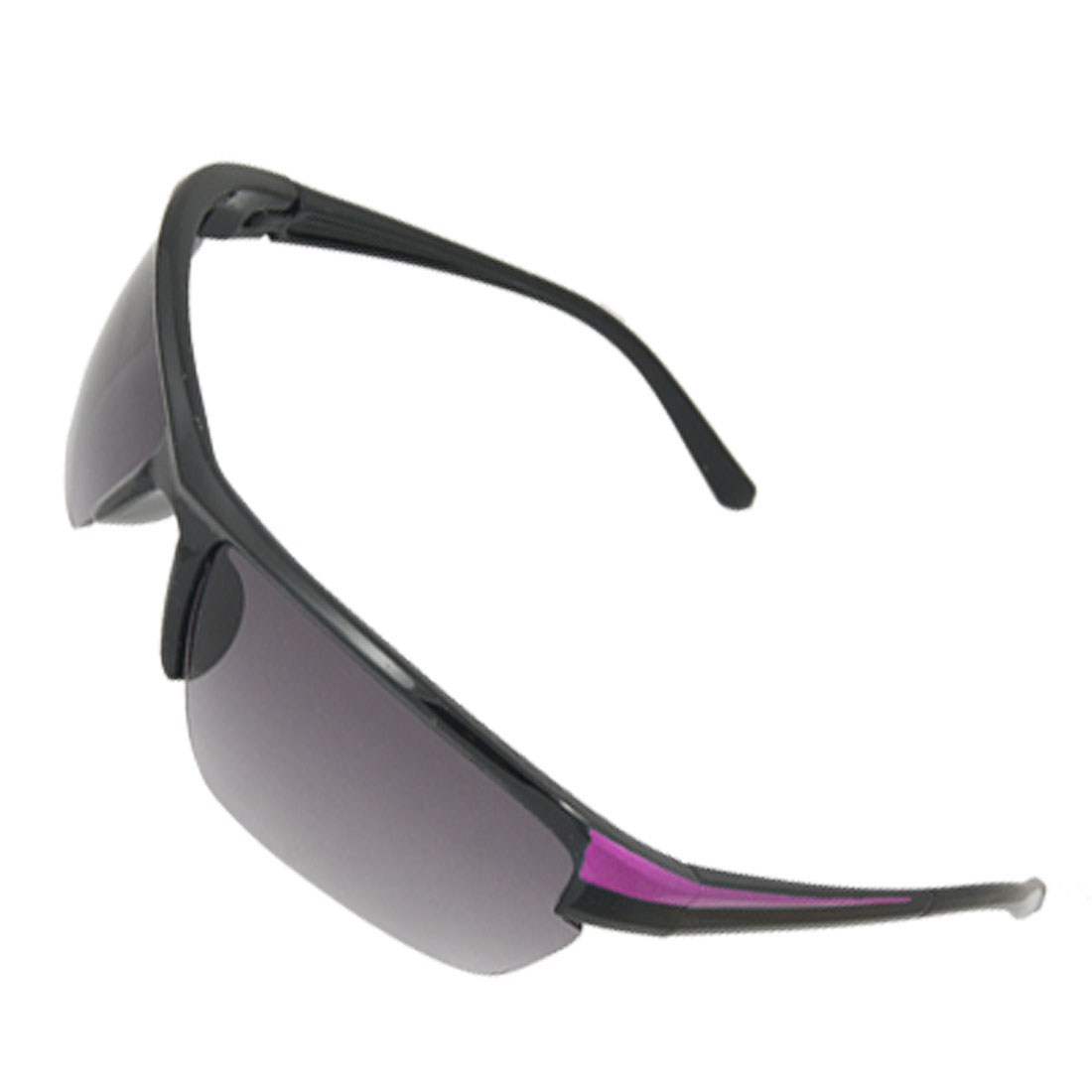 Black Plastic Semi Rim Rectangle Lens Sports Sunglasses