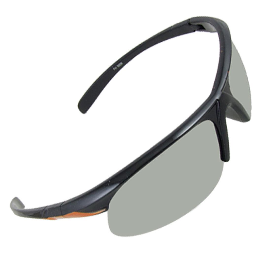 Mirror Lens Semi Frame Black Orange Arms Sports Sunglasses