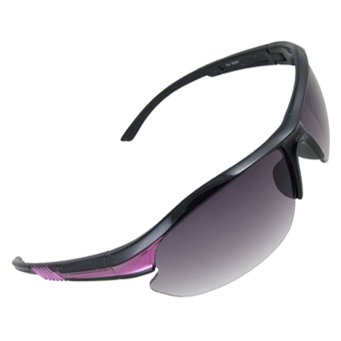 Black Purple Plastic Arms Semi Rim Sports Sunglasses