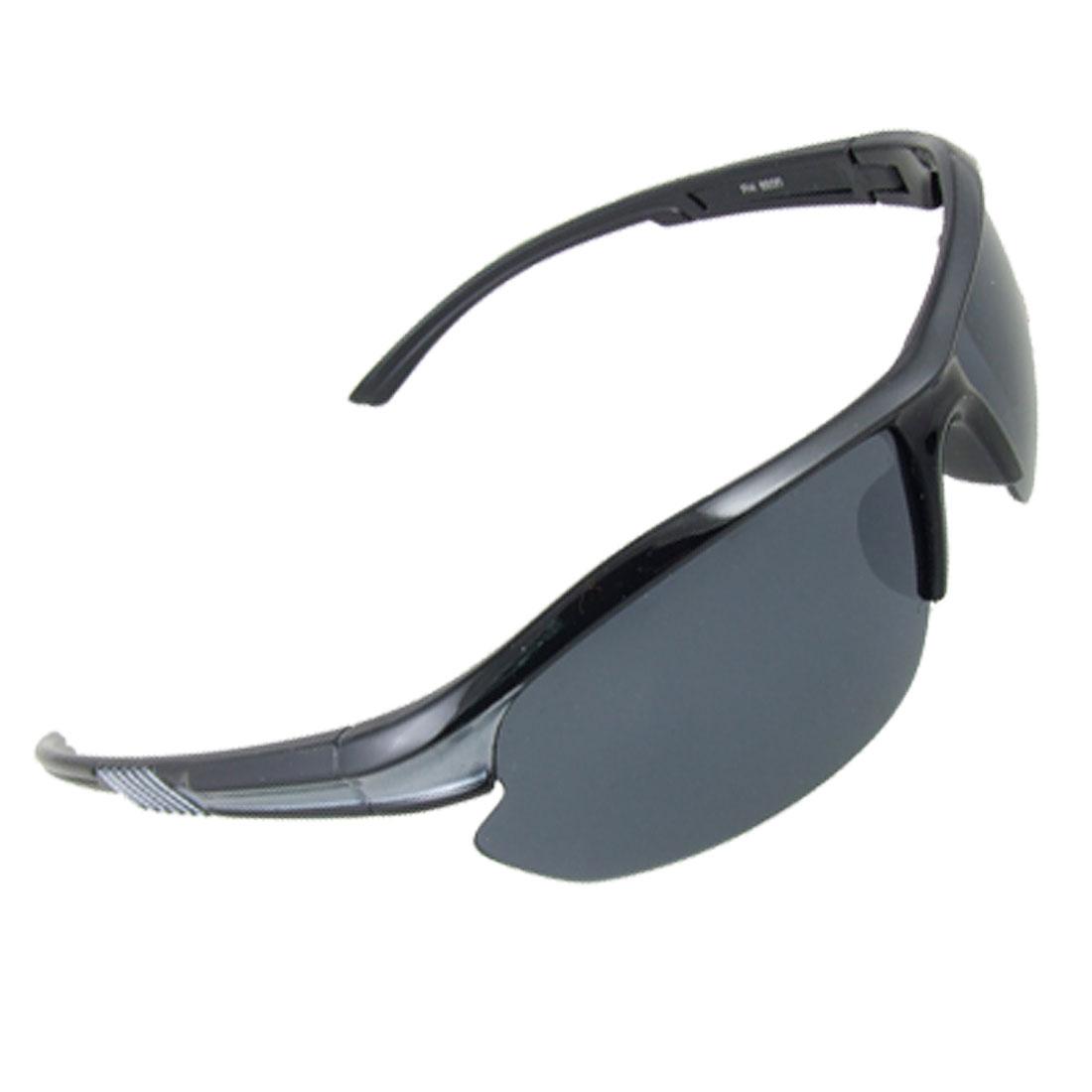 Half Frame Plastic Arms Rectangular Lens Sunglasses Eyewear