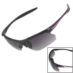 UV Protection Smoke Lens Purple Line Black Plastic Arm Sunglasses Unisex