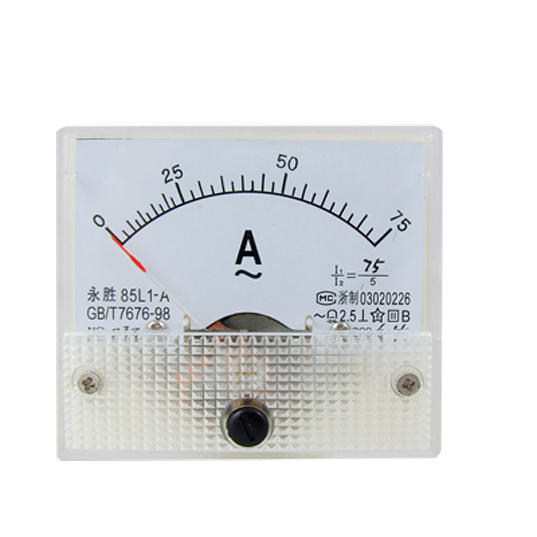 85L1 AC 0-75A Rectangle Analog Panel Ammeter Gauge