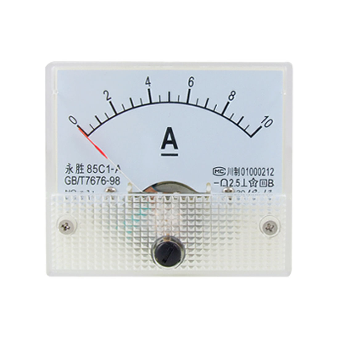 85C1 DC 0-10A Rectangle Analog Panel Ammeter Gauge