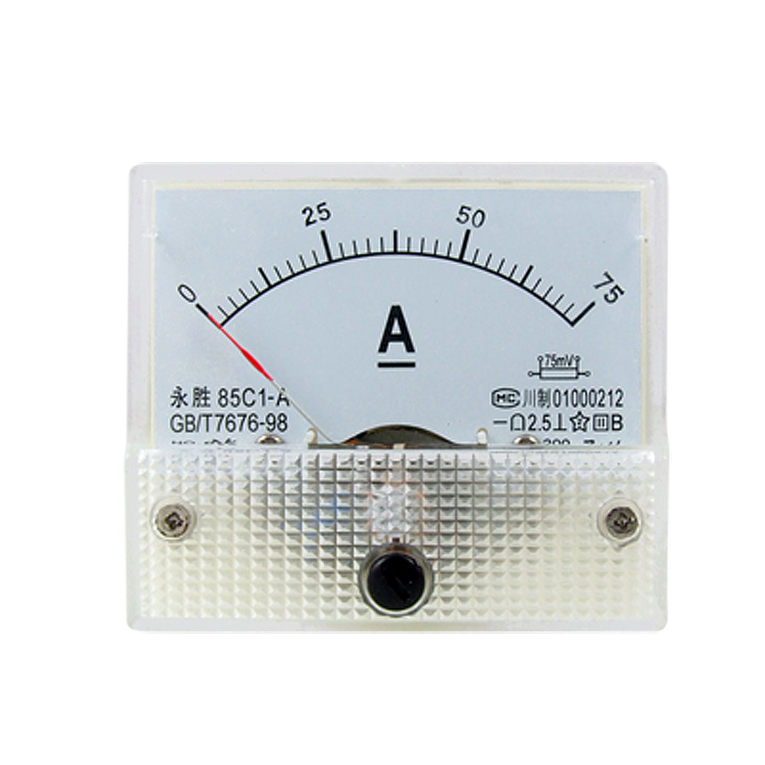 85C1 DC 0-75A Rectangle Analog Panel Ammeter Gauge