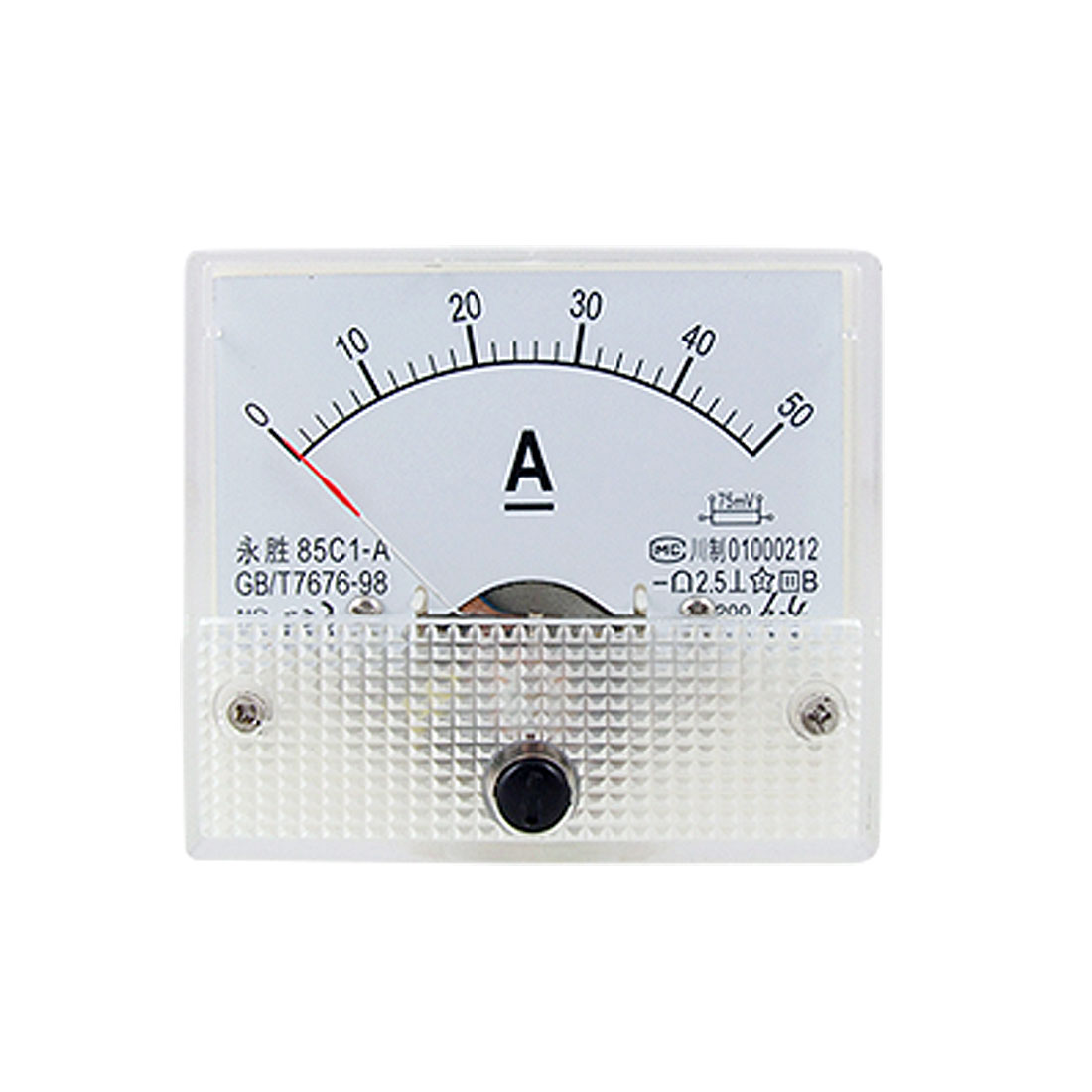 85C1 DC 0-50A Rectangle Analog Panel Ammeter Gauge