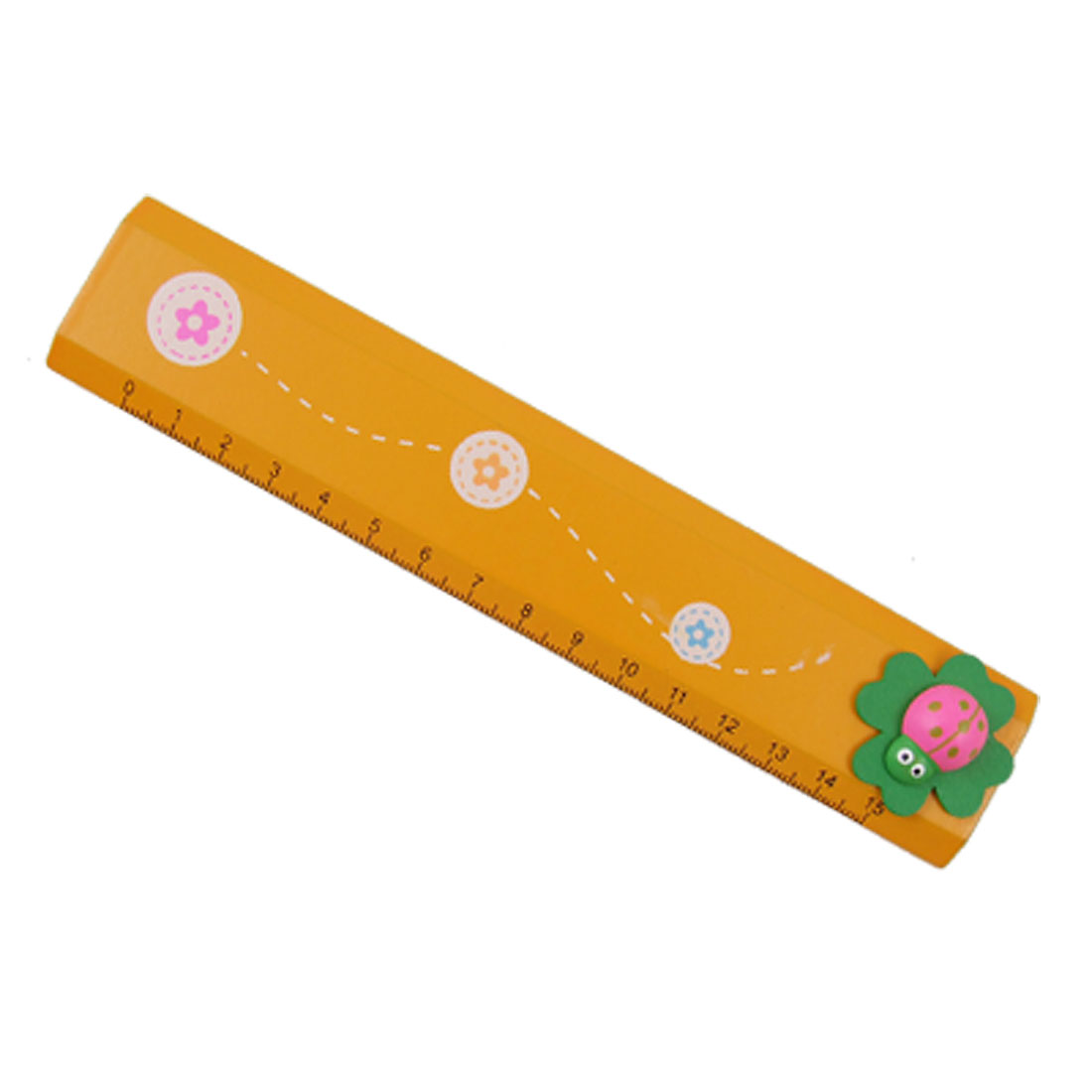 Cartoon Ladybug Leaf Design Yellow Painted Wooden Ruler