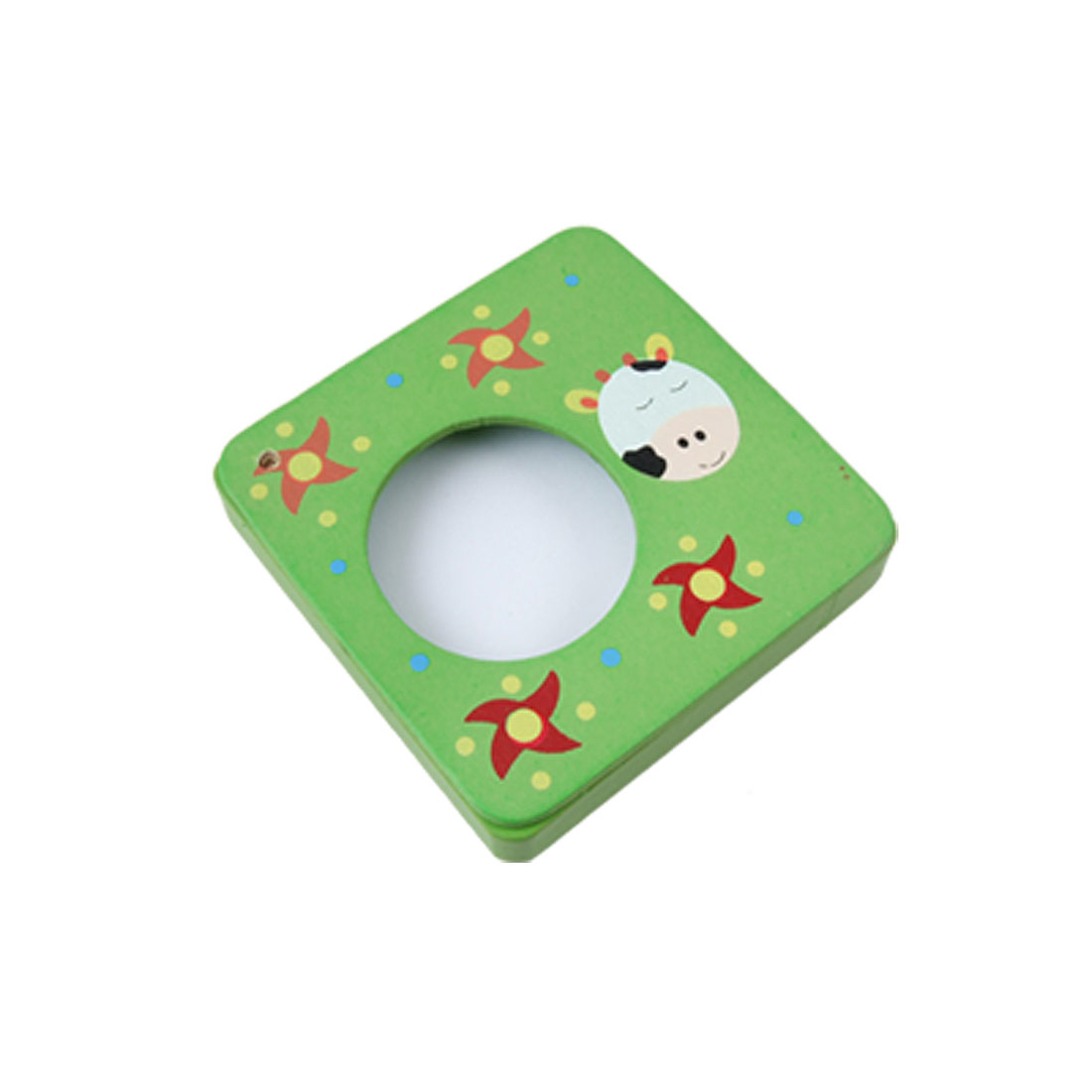 Cartoon Cow Red Pinwheels Green Painting Wooden Note Paper Pad Box