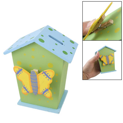 Wooden House Shaped Rings Design Piggy Bank Coin Box Blue Green