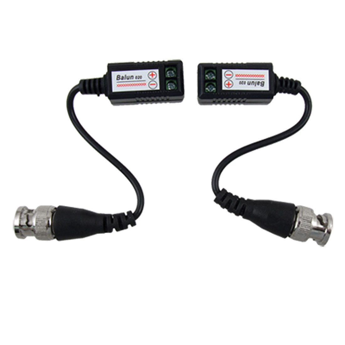 2 x Single Channel UTP Passive BNC Video Balun w Pigtail for CCTV Camera