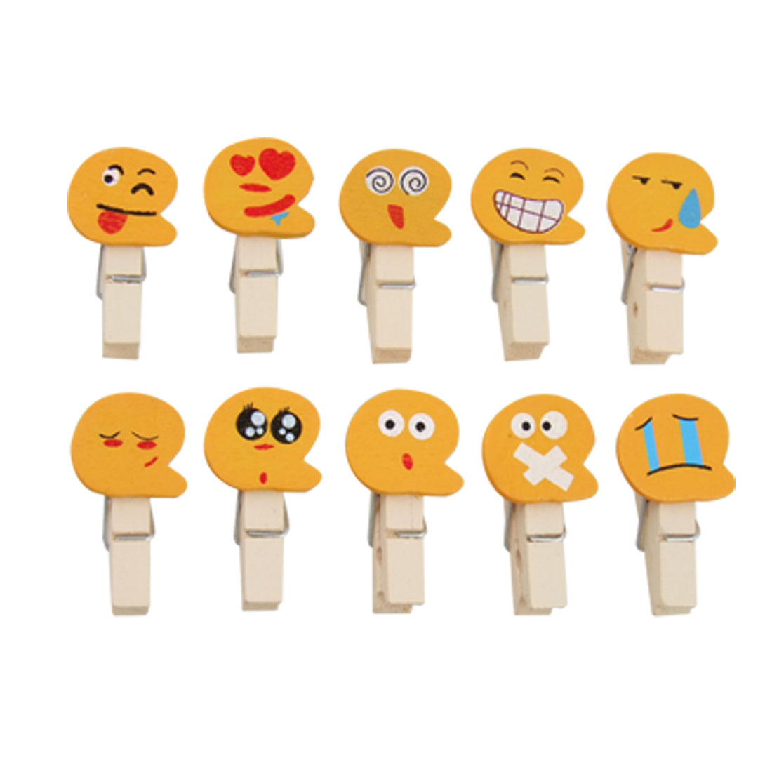 10 Pcs Yellow Face Appearance Design Wooden Spring File Towel Clip
