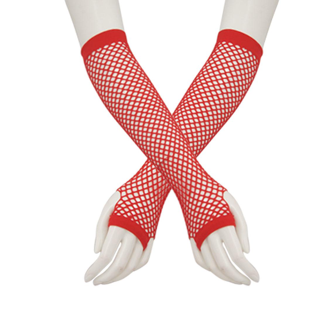Ladies Red Mesh Fingerless Elastic Fingerless Gloves