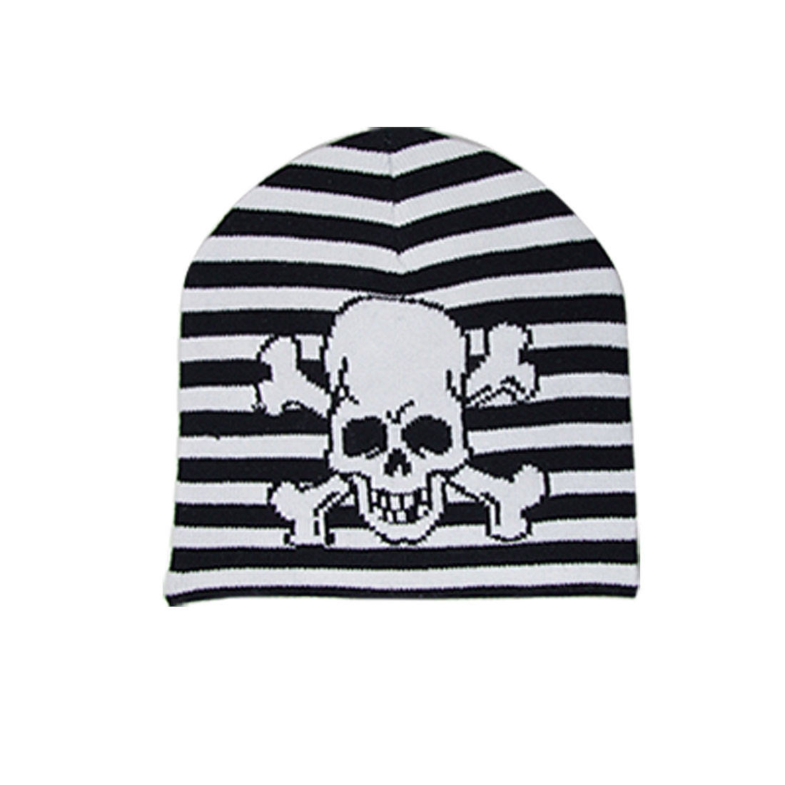 White Skull Pattern Stripe Block Child Arcylic Black Knitted Hat Cap