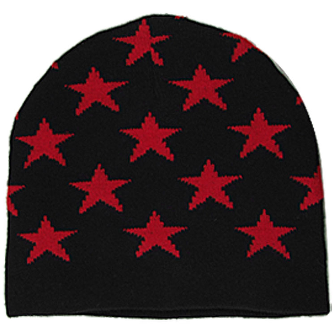 Children Red Stars Pattern Black Knitting Knit Beanie Hat Cap