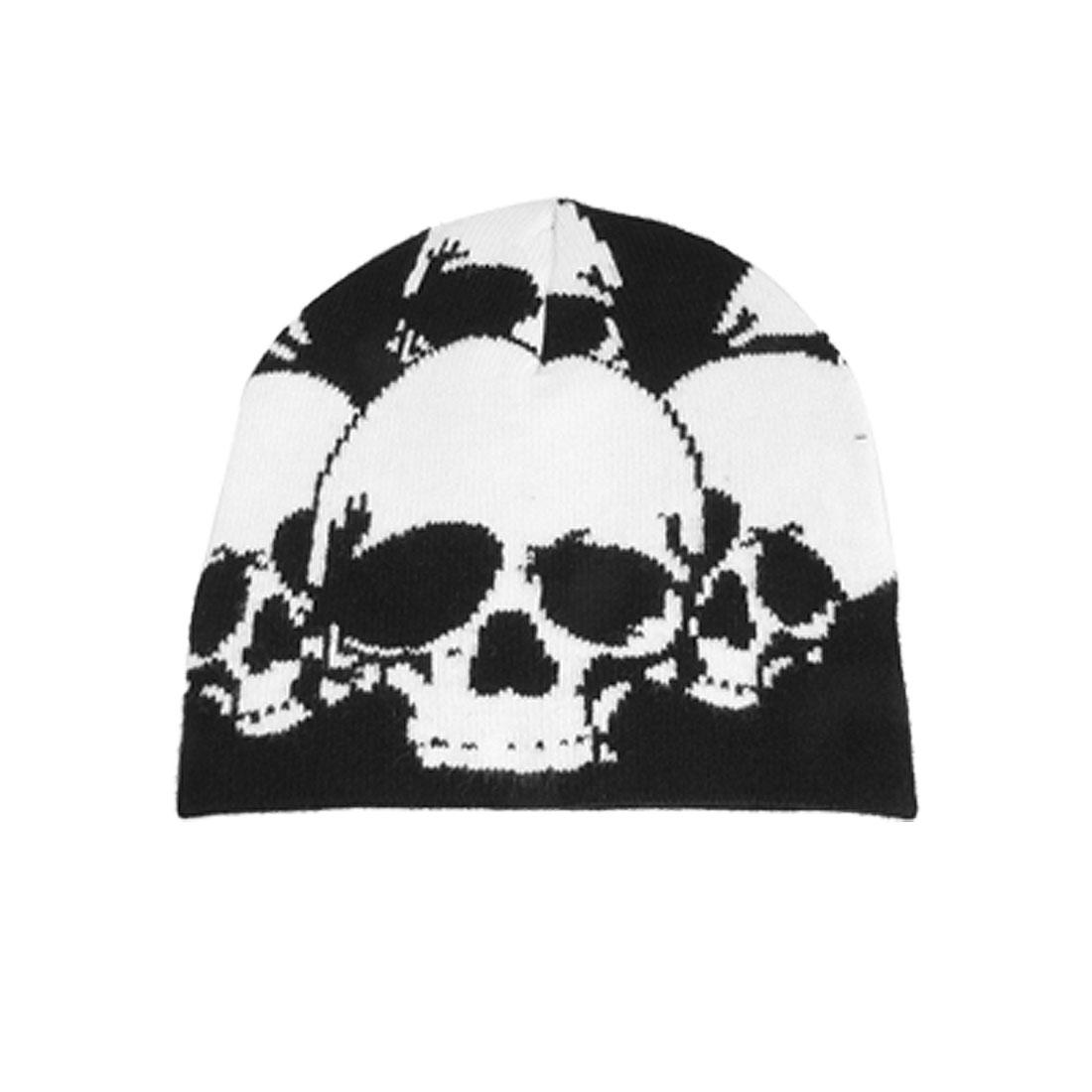 Children Elastic Warm White Skull Pattern Acrylic Hat Cap