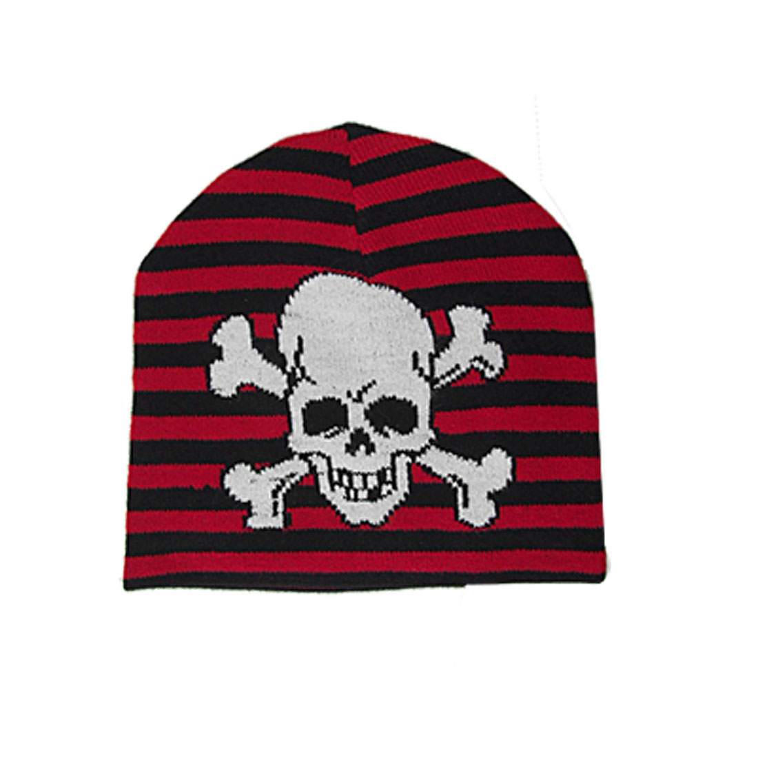 Children Black Red Stripe Knitted Beanie White Skull Pattern Hat