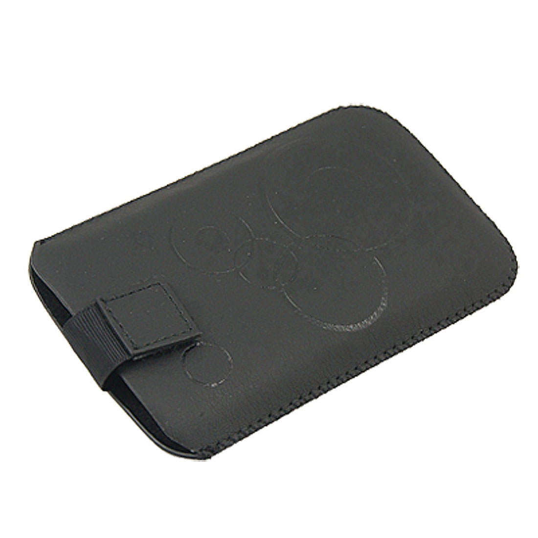 Black Circle Print Faux Leather Sleeve Pouch for HTC HD2