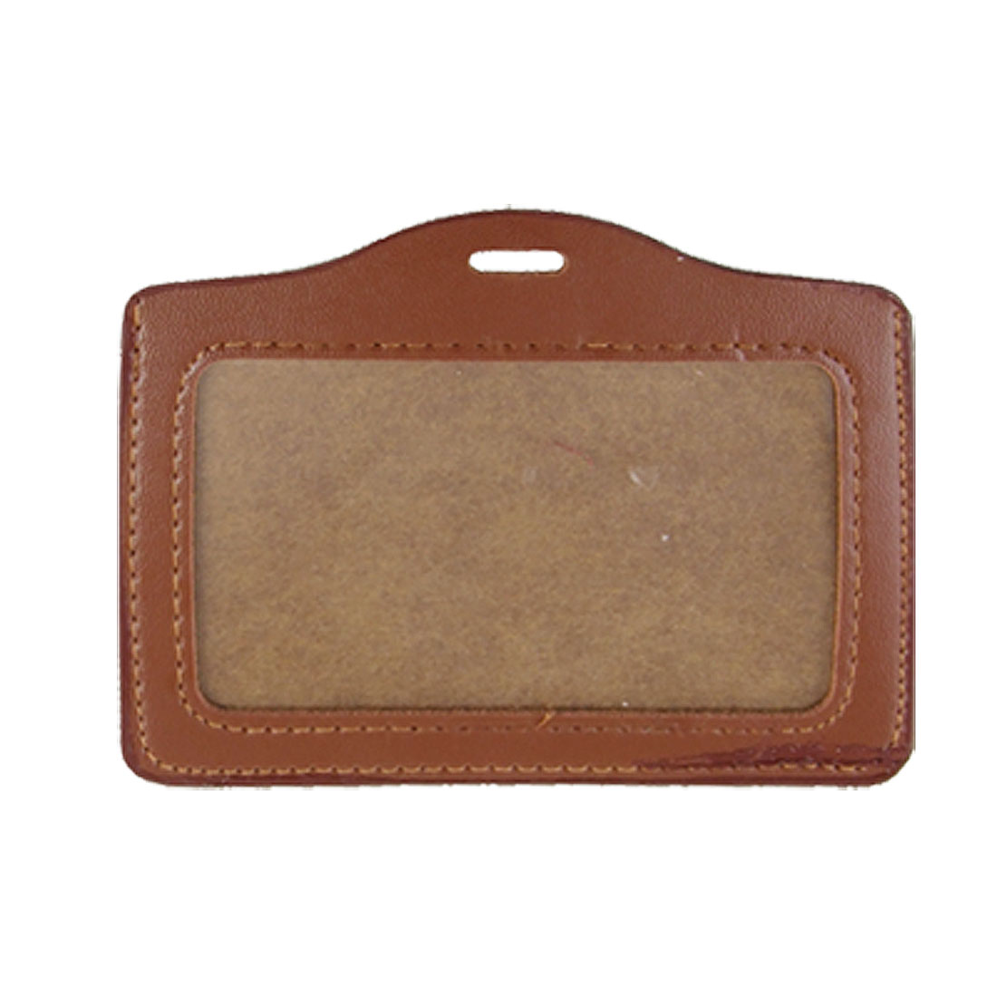Brown Horizontal ID Name Badge Holder for Office Worker 2 Pcs