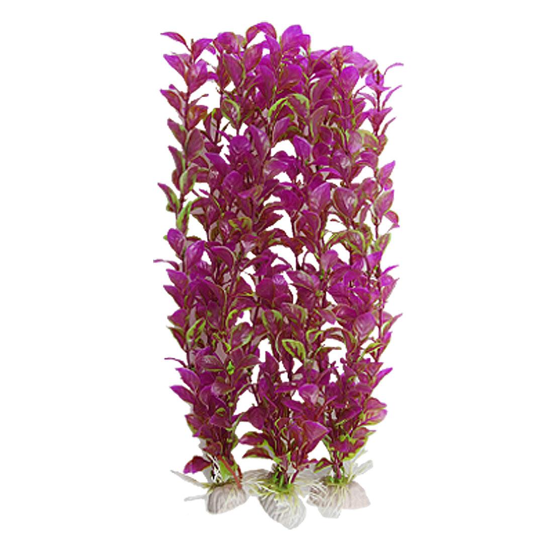 3 Pcs 32cm Fuchsia Green Plastic Oval Leaf Plant for Aquarium