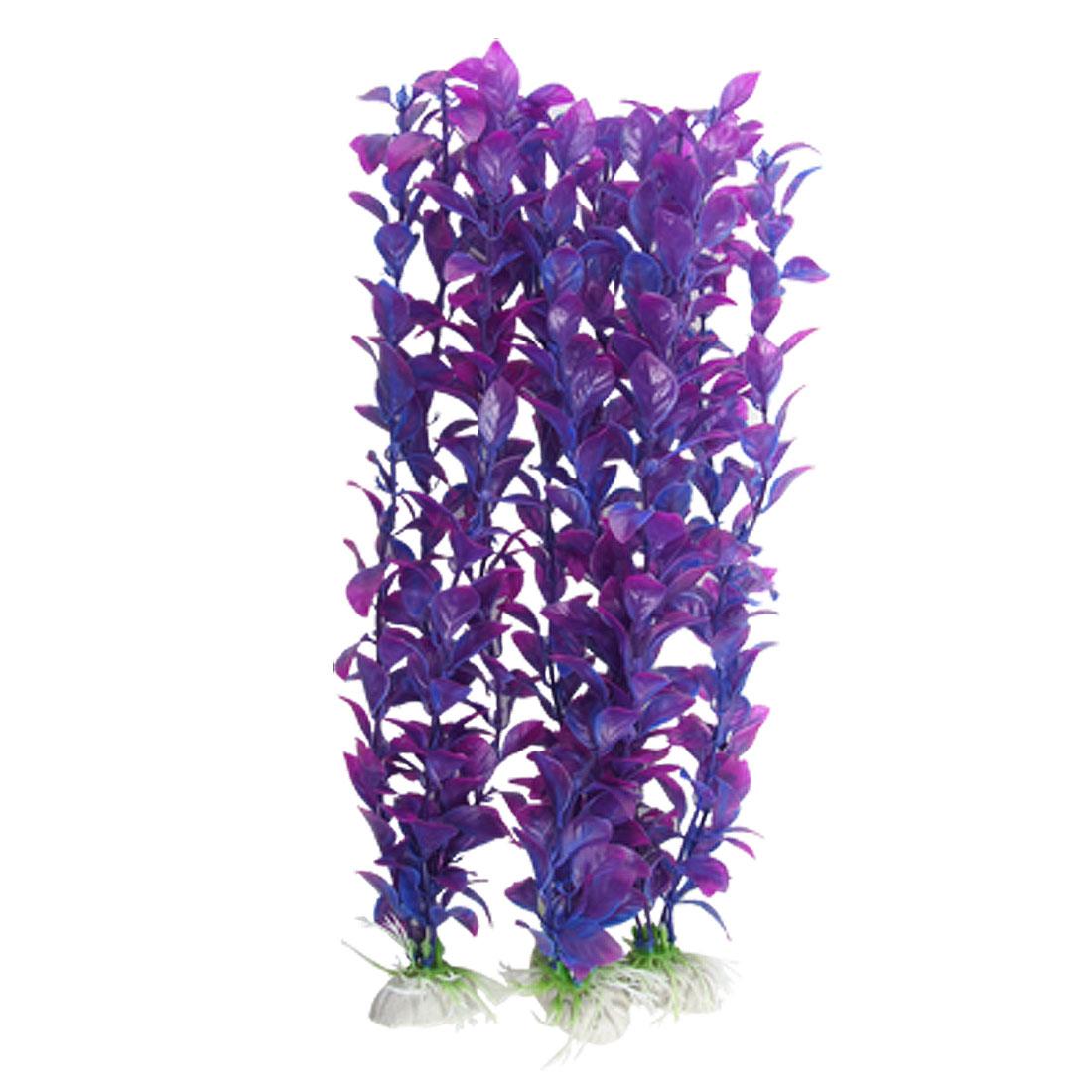 Aquarium Purple Plastic Elliptic Leaves Plant 3 Pcs