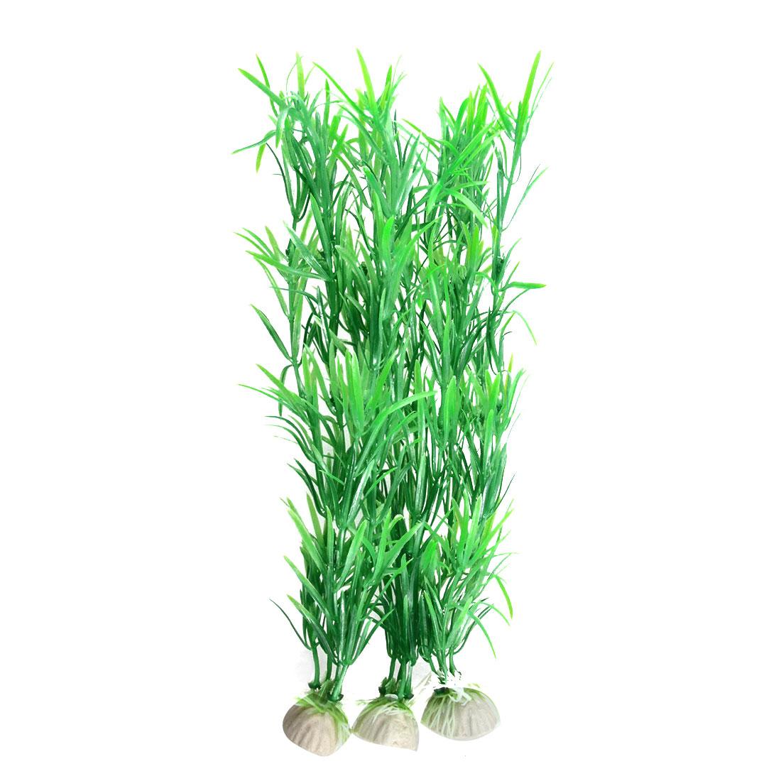 Fish Tank Plastic Green Long Thin Leaf Grass Ornament