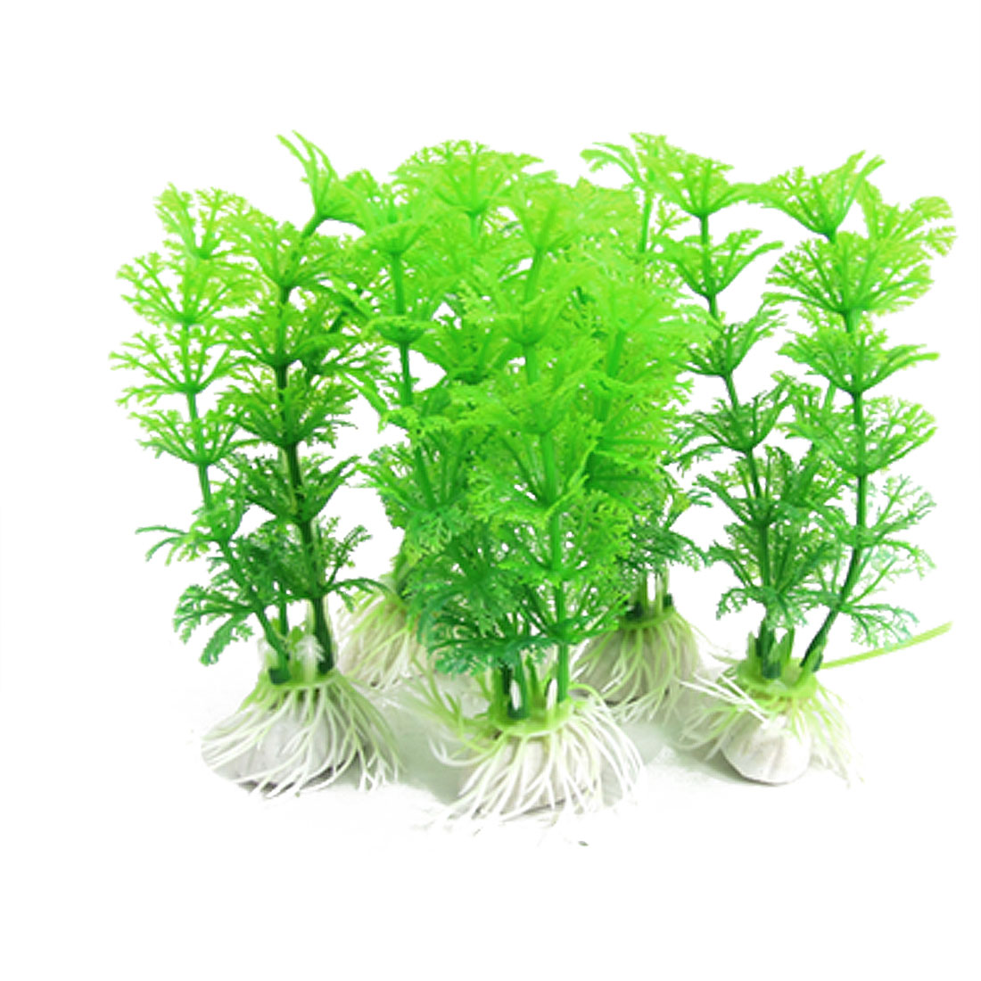 Fish Tank Aquarium Green Water Plastic Plant 5 Pcs w Base