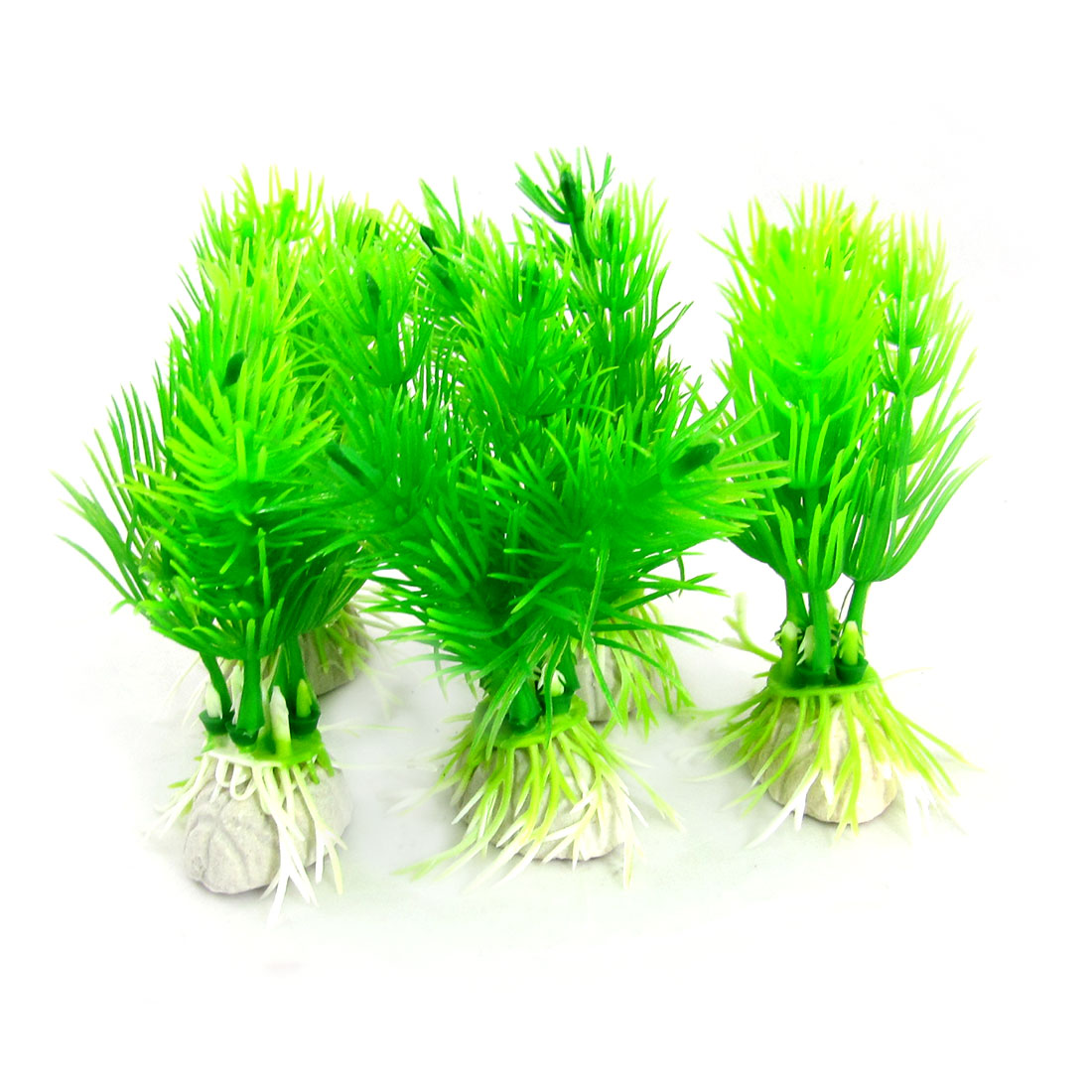 "5 Pcs 3"" Water Dwarf Plastic Plant Decoration Green for Fish Tank"