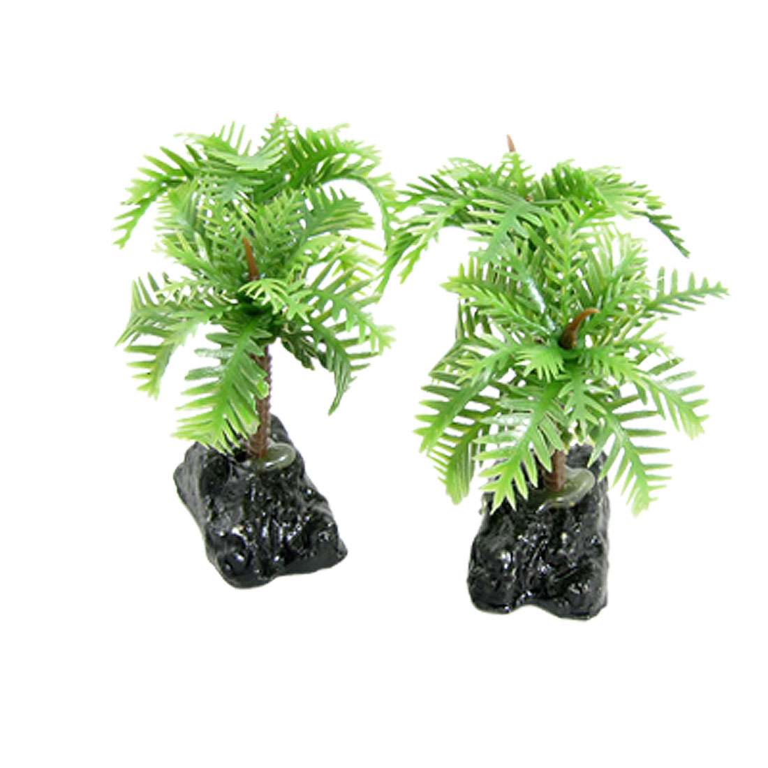 Fish Tank Green Plasic Coconut Tree Ornament w Ceramic Base