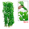 32cm Green Oval Leaf Plastic Plant Aquarium Decoration 3 Pcs
