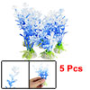 5 Pcs Blue Decorative Plastic Plant Fish Tank Ornament