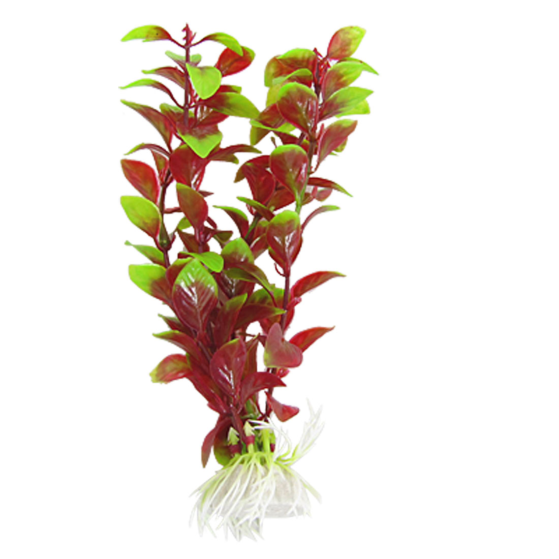 "Aquarium Fish Tank Green Red Plastic 3.1"" Grass Plant Ornament"