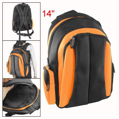 """Travel Black Orange Double Zipper Shoulder Bag Backpack for 14"""" Laptop"""