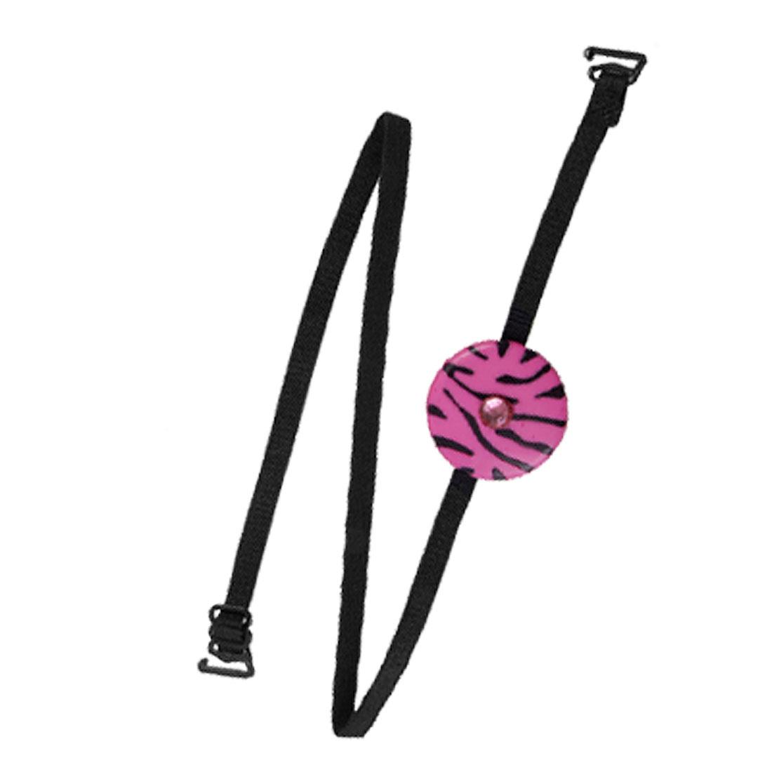 Adjustable Fuchsia Zebra Button Crystal Halter Bra Strap