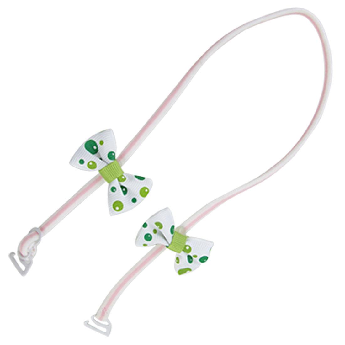 Pink White Elastic Bowknot Decor Halter Neck Bra Strap