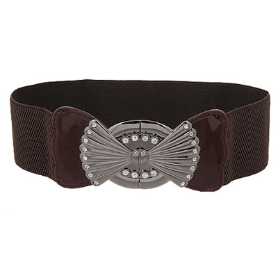 Ladies Rhinestone Buckle Coffee Springy Waist Belt Band