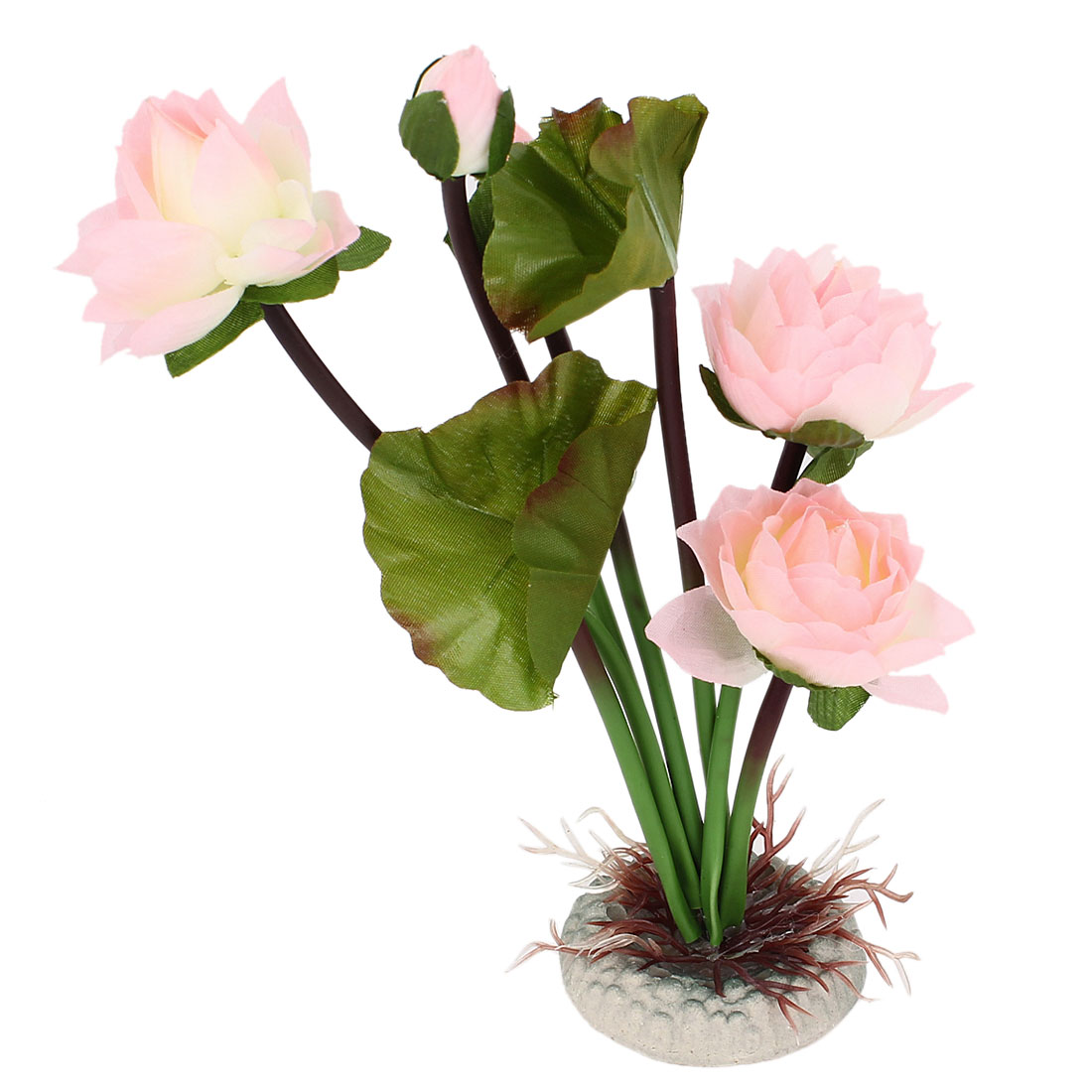 Fish Tank Artificial Pink Lotus Flower Bud Green Leaf
