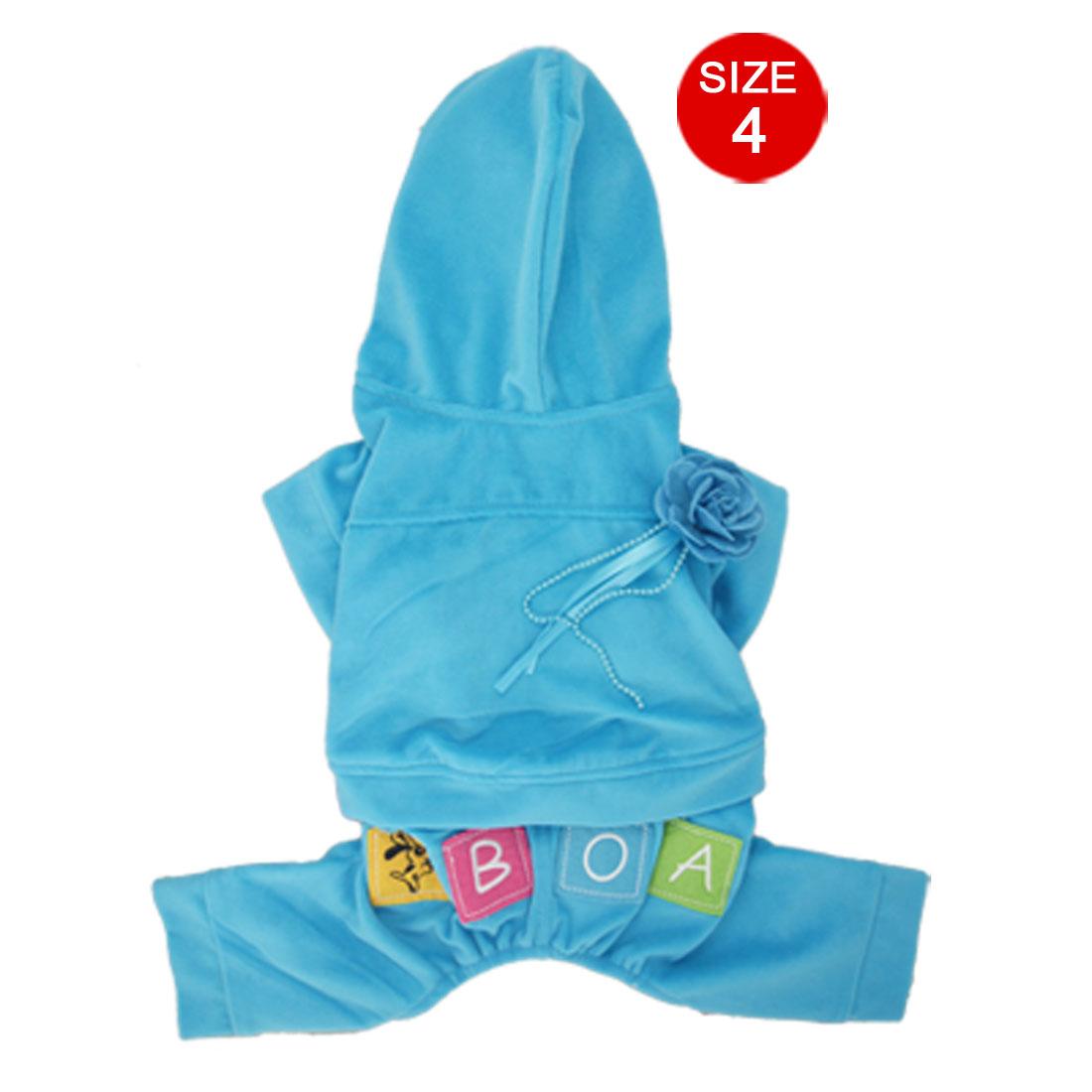 Blue Flower Brooch Hooded Romper Fleece Shirt Pants Jumpsuit Pet Dog Apparel XL
