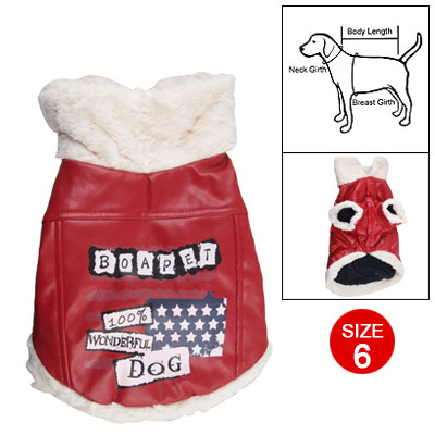 Dog Plush Trim Red Faux Leather Clothes Apparel Size 6