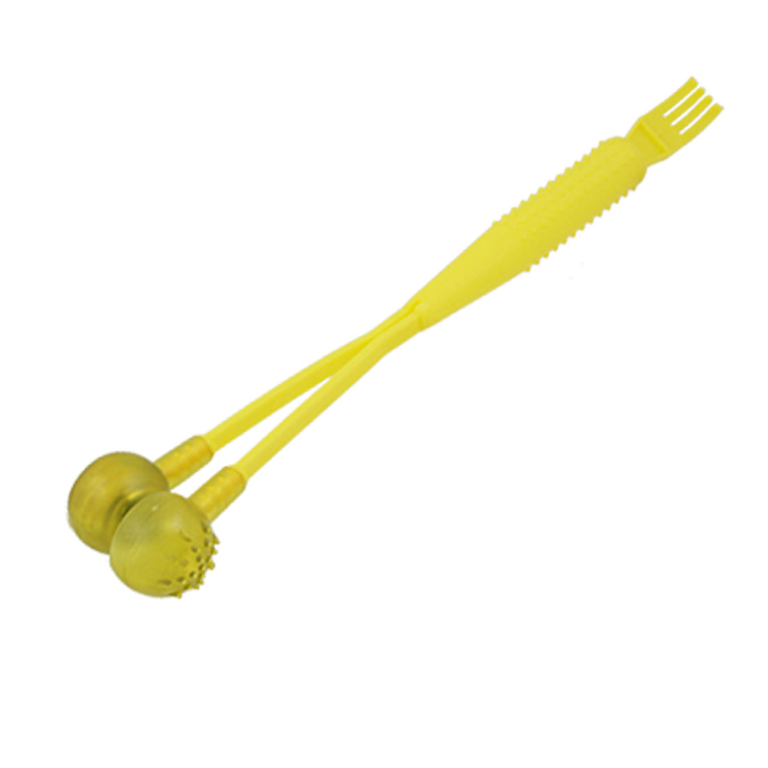 Yellow Plastic Nonslip Handle Magnetic Hammer Massage Stick w Scratcher