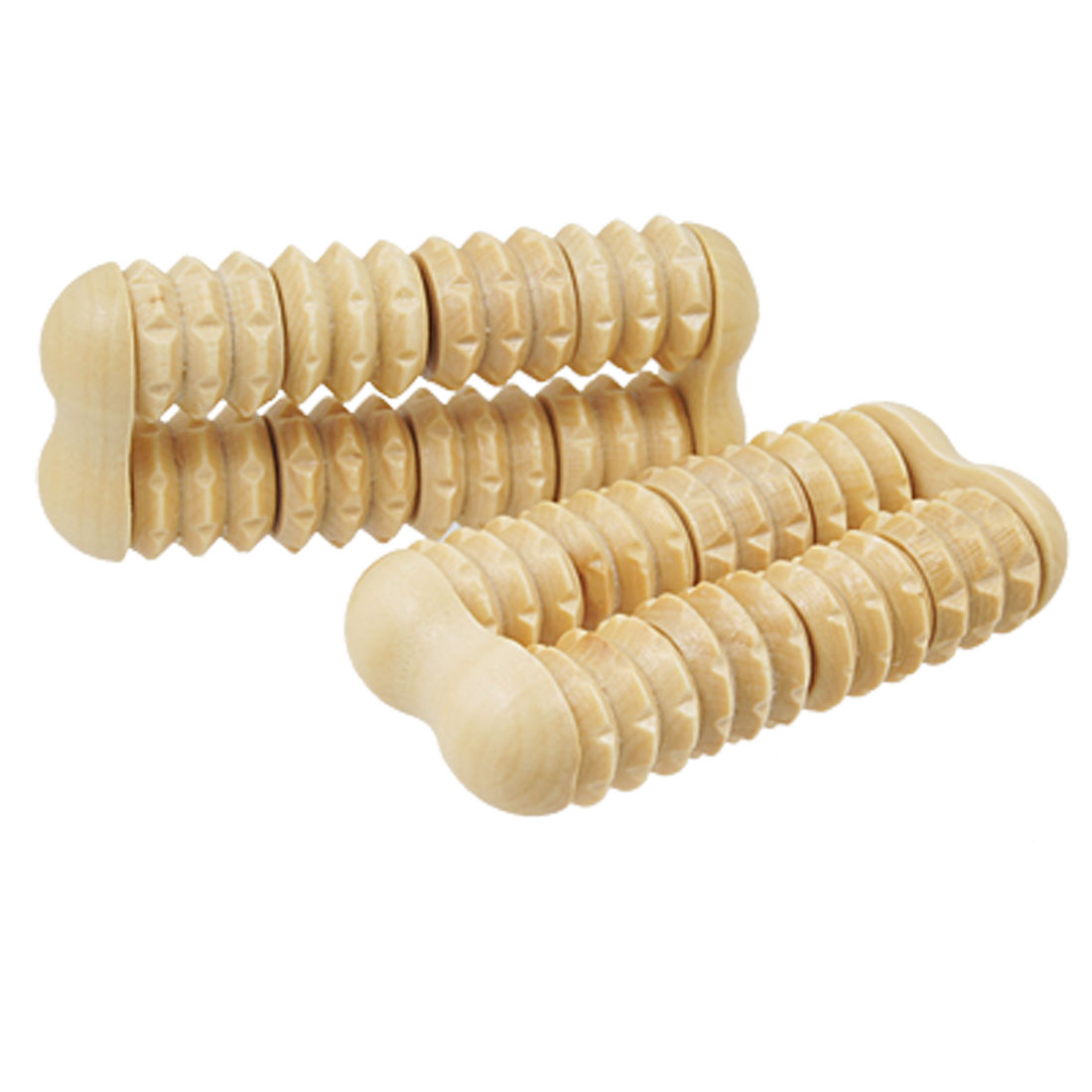 2 Pcs Mini Wooden 8 Wheels Massage Roller Body Arms Legs Massager
