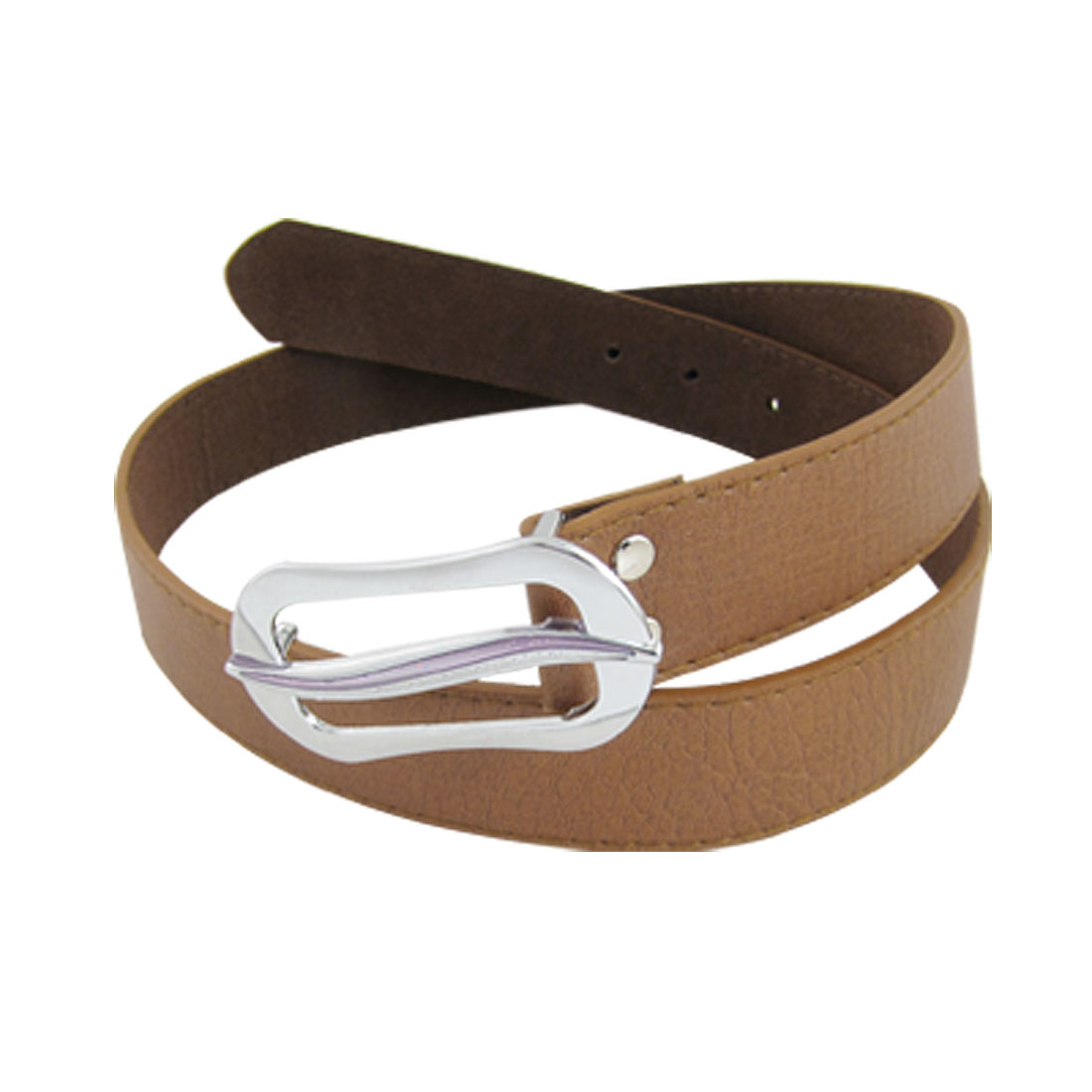 Ladies Brown Faux Leather Press Alloy Buckle Waist Belt