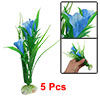 5Pcs Green Sea Grass Blue Trumpet Flower Aquarium Decor