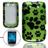 Black Paw Print Cover Green for BlackBerry Torch 9800