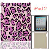 Purple Black Leopard Print Plastic Rear Case for iPad 2