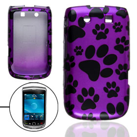 Black Paw Print Case Purple for BlackBerry Torch 9800