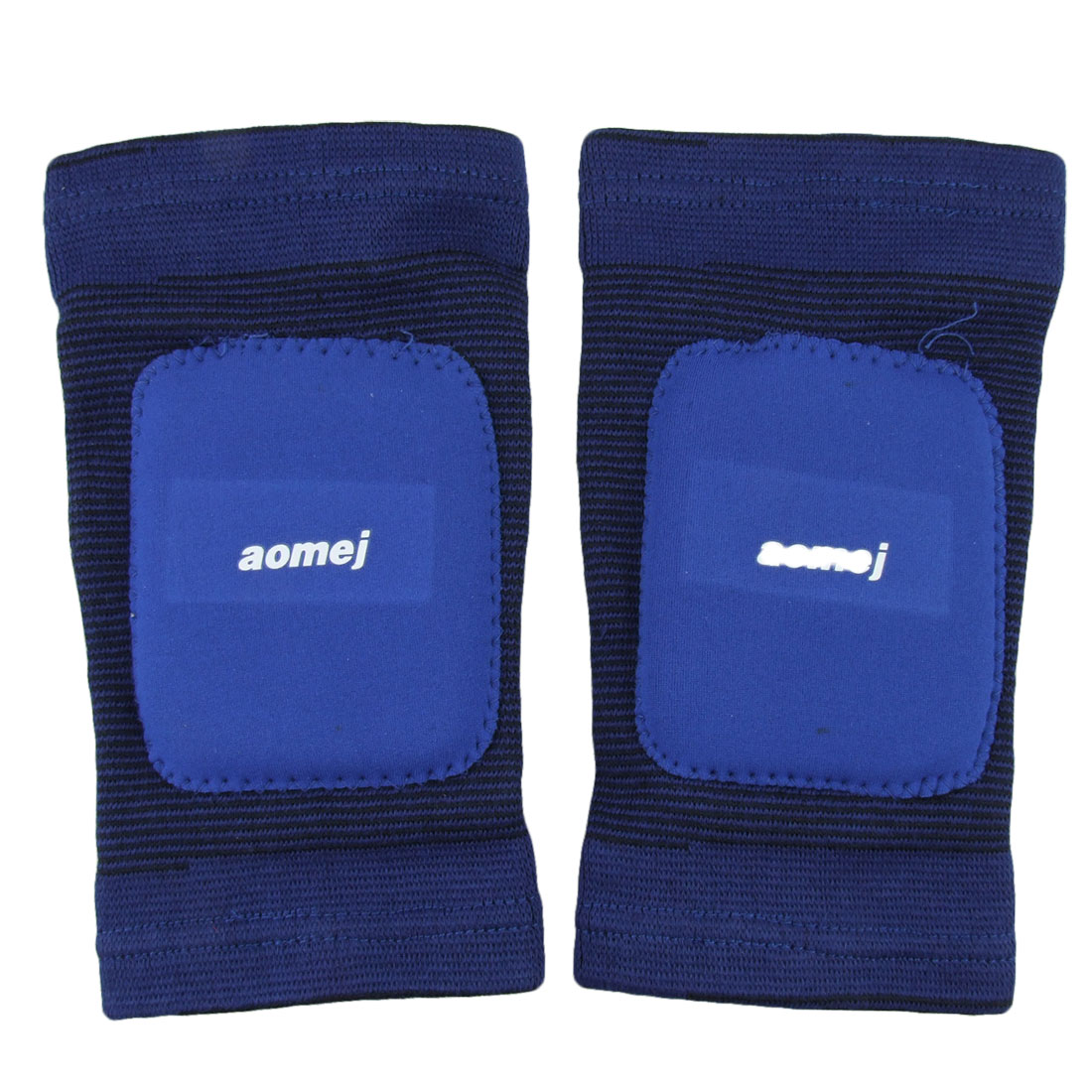 Children Striped Padded Elastic Sleeve Knee Support Brace Protector Pair Blue