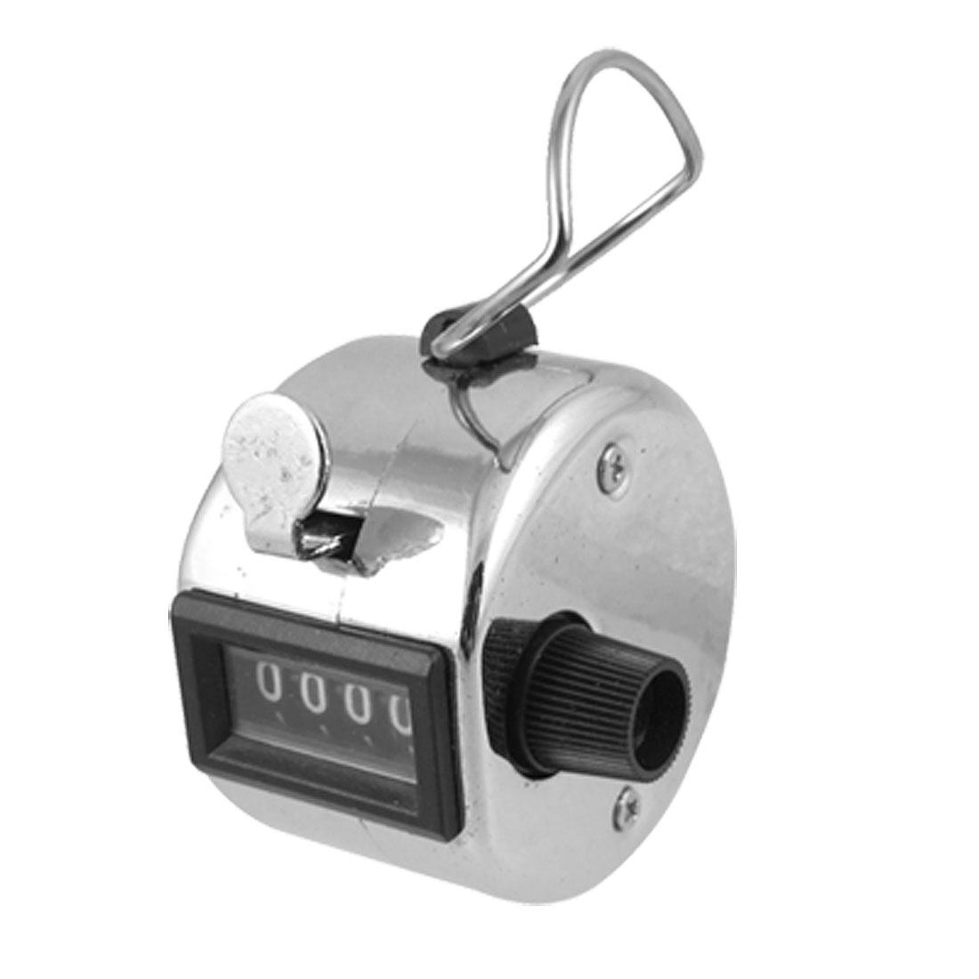 4 Digits Metal Silver Tone Hand Tally Counter for Statistic