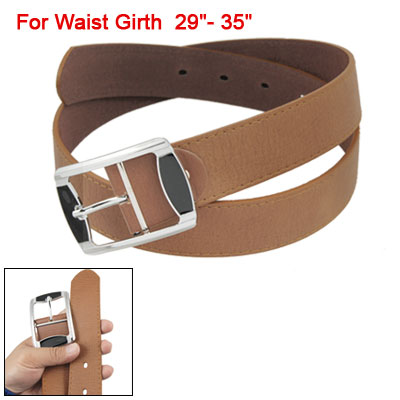 Single Prong Buckle Brown Faux Leather Waist Belt for Lady