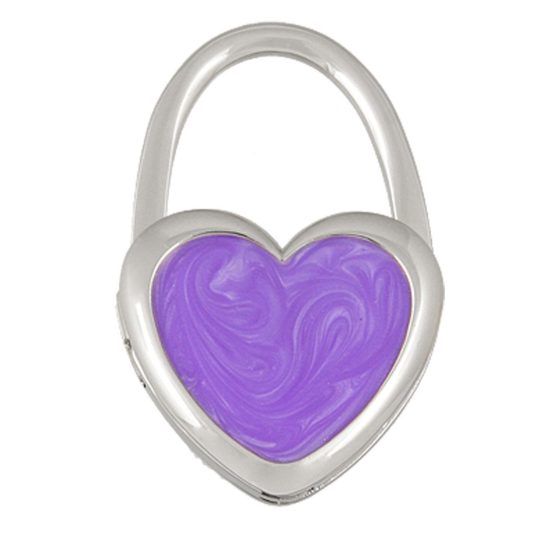 Heart Shaped Padlock Style Purple Silver Tone Table Hanger