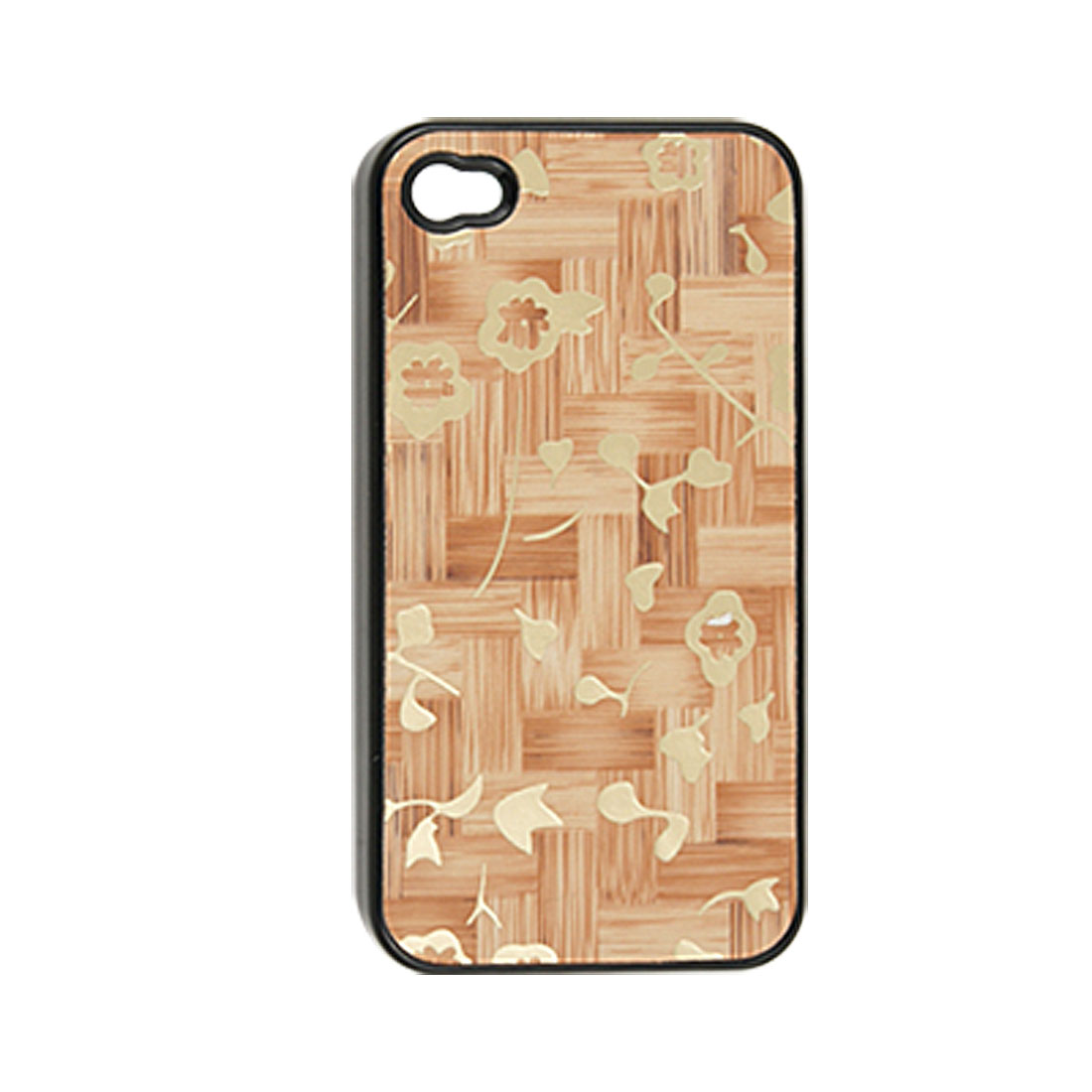 Gold Tone Flower Print Faux Leather Coated Plastic Cover for iPhone 4 4G